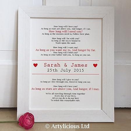 Artylicious Personalised First Dance Wedding lyrics Vows FRAMED art ...