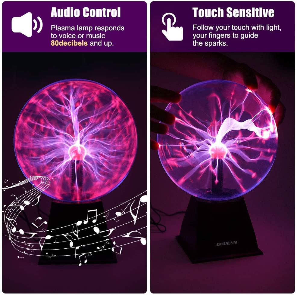 Parties Gouevn Plasma Ball 8 Inch A Cool Science Novelty Gift for Decorations Plasma Globe Touch /& Sound Activated Plasma Lamp Electric Ball Bedroom