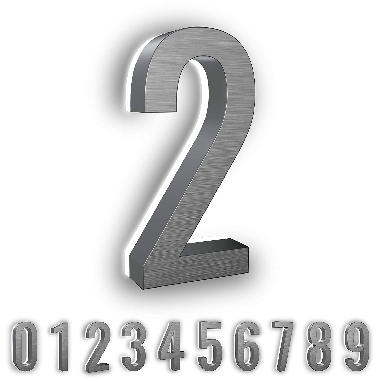 7-Inch Low-Voltage Backlit LED Address Numbers by LN LUMANUMBERS, Durable Brushed Steel Lighted House Numbers, Weather-Proof, Modern Illuminated Floating Numbers (Black, 7)