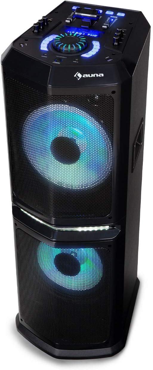 auna Clubmaster 8000 Equipo de Audio para Fiestas - Altavoz , Bluetooth , hasta 120 W de Potencia , 2 Subwoofer de 10