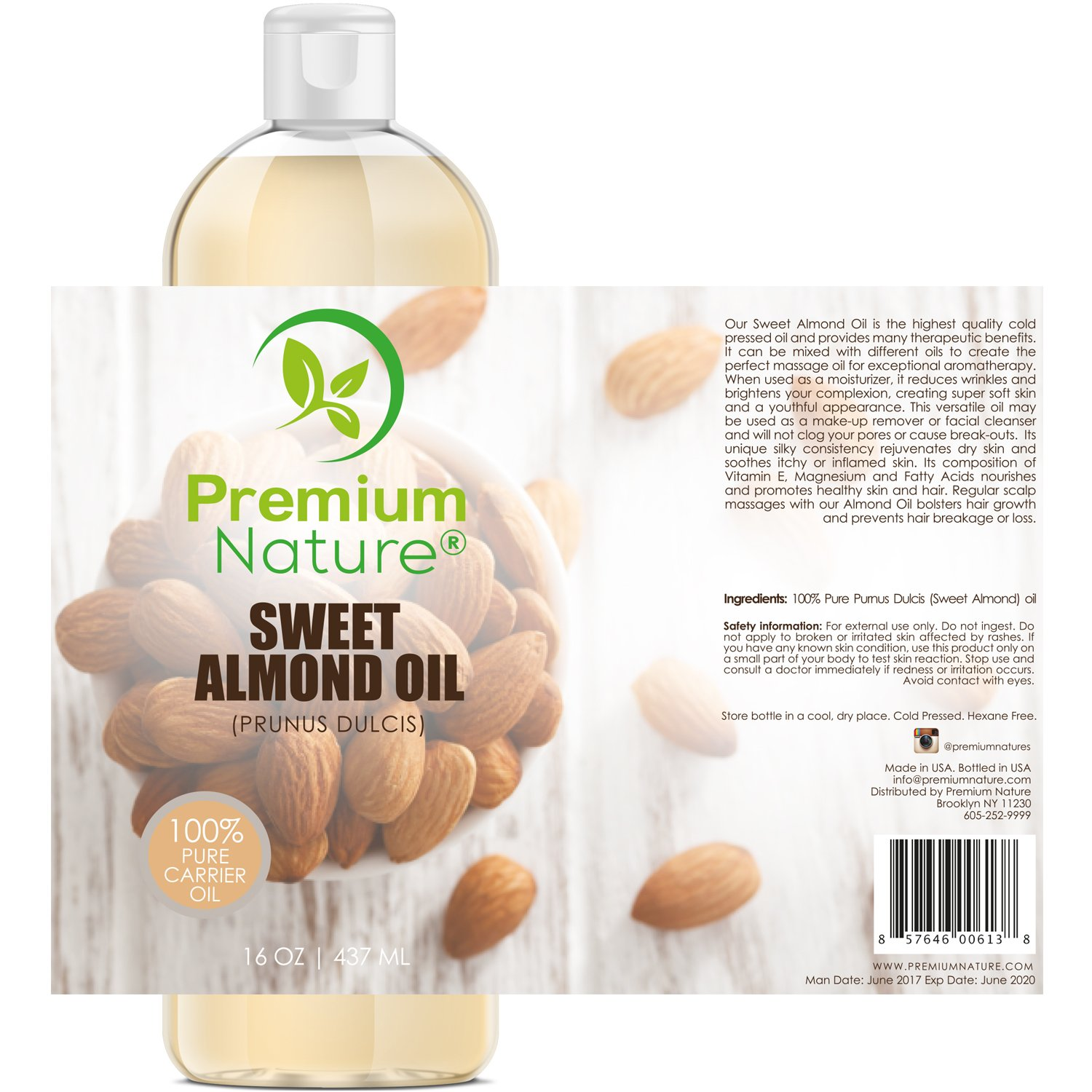 Galleon Sweet Almond Oil Carrier Oil Cold Pressed Pure
