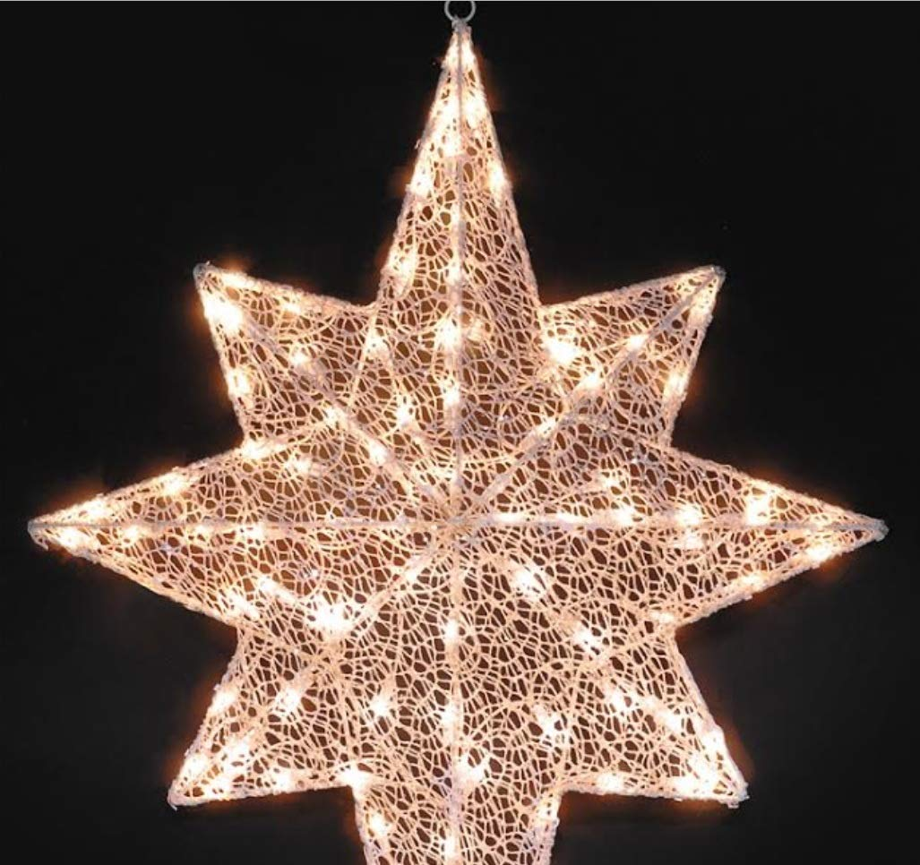 hm Lighted White Glittering Mesh 2-D Star of Bethlehem Christmas Yard Art Decoration, 36''