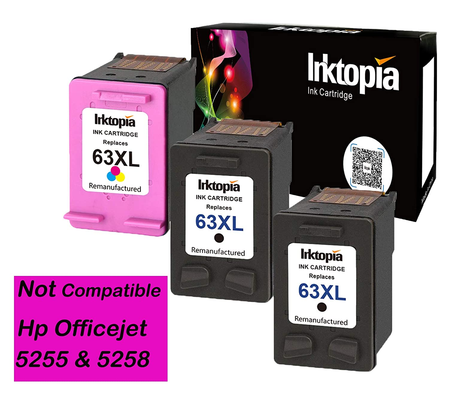 Remanufactured Ink Cartridge for HP 63XL High Yield, 1 Black 1 Tri-color, Ink Level Display Used in HP Envy 4520 4516 HP Officejet 4650 3830 3831 4655 HP Deskjet 2130 1112 3630 3633 3634 Printer InkInk Topia
