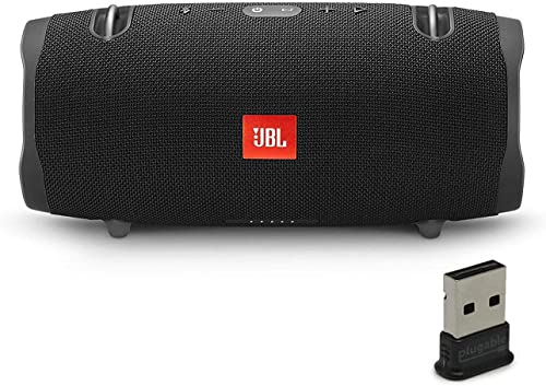 JBL Xtreme 2 Portable Bluetooth Waterproof Speaker Bundle with Plugable USB 2.0 Bluetooth Adapter - Black