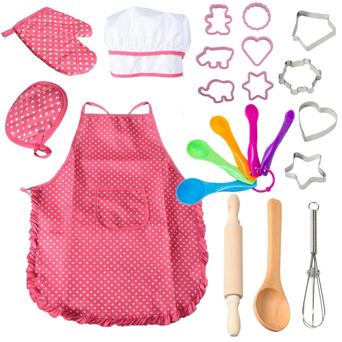 22 Pcs Kids Cooking and Baking Set - Includes Apron for Girls,Chef Hat,Oven Mitt and Other Cooking Utensils for Toddler Chef Career Role Play,Girls Dress up Pretend Play Gift by Famoby