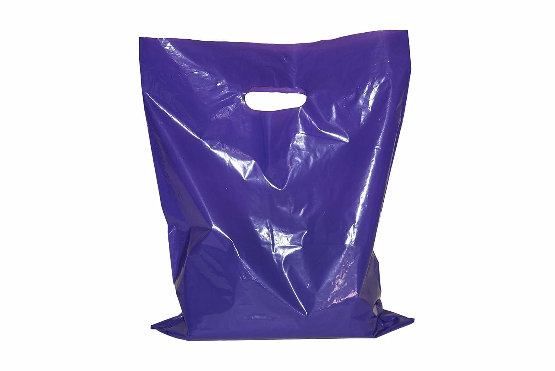 200 small glossy purple & teal plastic merchandise bags w/die cut handles 9x12