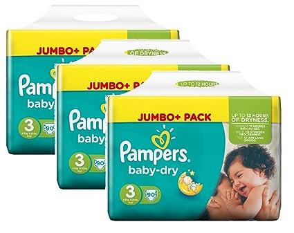 Tamaño del bebé Pampers Dry 3 Midi 4-9kg Jumbo Plus Pack, 3 Pack