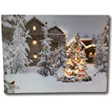 Lighted Christmas Wall Art - 12 x 16 Canvas Print with Cardinals and Trees in an Outside Winter Scene - Winter Picture with LED Lights