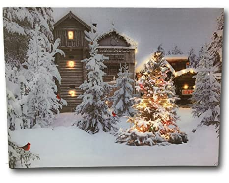 Christmas Led Canvas.Lighted Christmas Wall Art 12 X 16 Canvas Print With Cabins Cardinals And Trees In An Outside Winter Scene Winter Picture With Led Lights