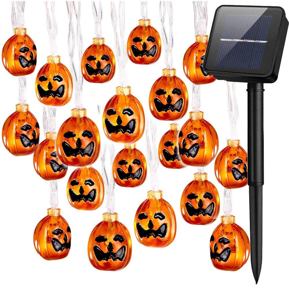 SJLED Halloween String Lights Solar Powered, Waterproof 30 LED Solar Pumpkin Lights 8 Modes Halloween Christmas Festive Lights 3D Jack-O-Lantern Decoration Lighting for Indoor, Outdoor, Home, Garden