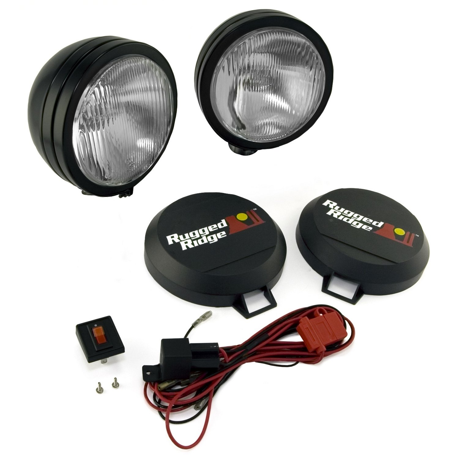 Rugged Ridge 1520552 5 Black Round Hid Off Road Light 1995 Dodge Ram 1500 Wiring Diagram Fog Lamps With Harness Pair Automotive