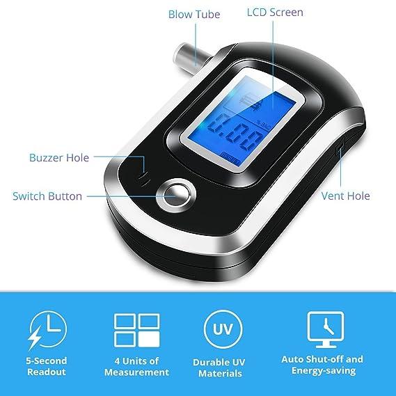 Medidor de alcohol al respirar. OMORC Medidor de alcohol con sensor y pantalla LCD digital Alcoholímetro negro portátil con 20boquillas