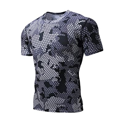 Wosoky Men's Running Fitness Camo Tight Tops Fast Drying Breathable Short Sleeve Compression Shirts