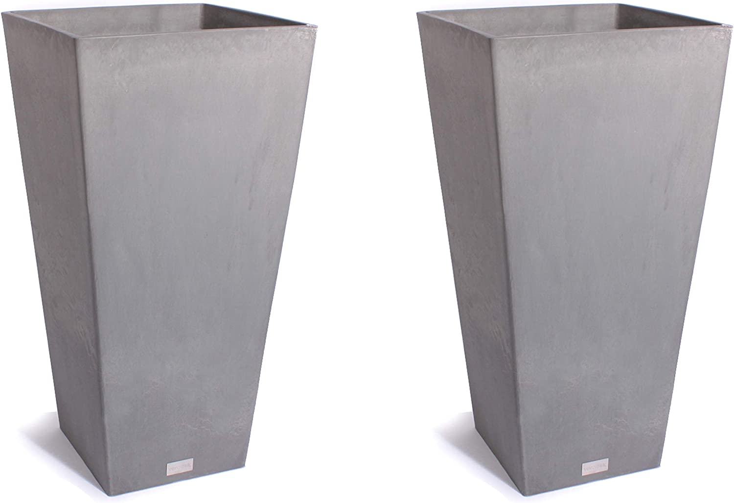 Veradek Midland Tall Square Planter – Charcoal- 28 in.-2 Pack