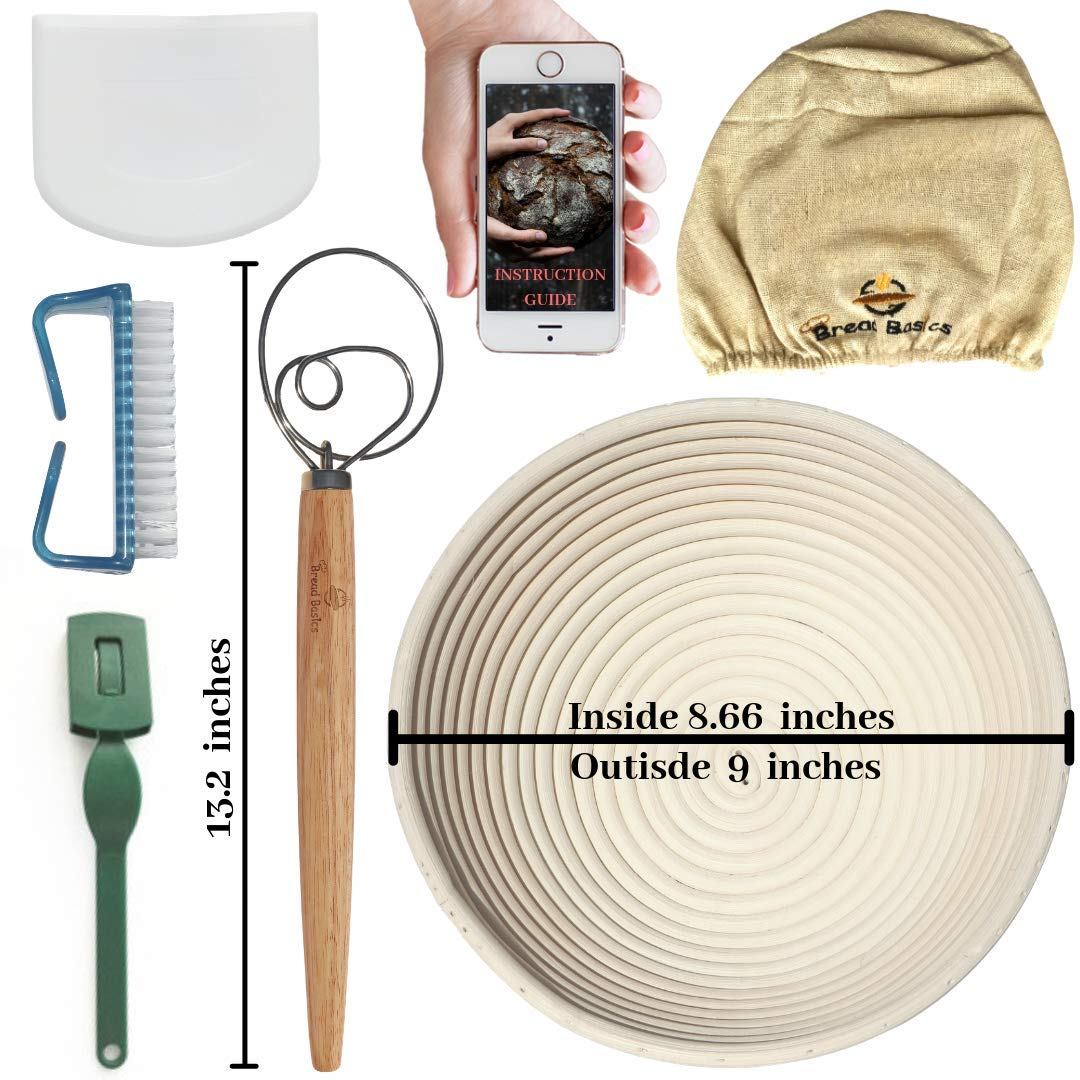 BreadBasics Banneton Proofing Basket   Premium Homemade Bread Starter Kit for Beginners   Includes Step by Step eBook, Bowl Scraper & Whisk, Lame, Brotform Liner, Cleaning Brush   Sourdough Supplies by BreadBasics (Image #1)