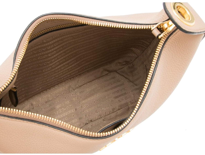 aa2fbcdadbb9 Prada Vitello Daino Tan Leather Shoulder Handbag with Silver and Blue Nylon  Web Striped Strap 1BC052: Handbags: Amazon.com