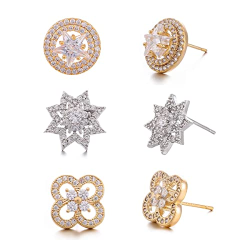 9509690be 3 Pairs 925 Sterling Silver Rose White Gold Plated Cubic Zirconia Circle  Earring - CZ Sparkling Star Simulated Diamond 4 Leaf Clover Flower Stud  Earrings ...