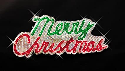 46 sparkling holographic merry christmas yard art sign decoration - Hologram Outdoor Christmas Decorations
