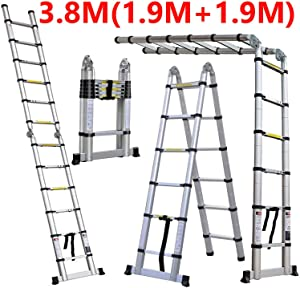Luisladders 12.5 FT Aluminum Telescoping Extension A-Frame Ladder Multi-Use Telescopic Ladder 330 Pound Capacity with Support Bar