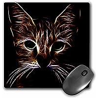 3dRose Tapete para mouse con diseño de cara de gato, para los amantes de las mascotas, con luz de neón brillante, 8 x 8 pulgadas (mp_155250_1)