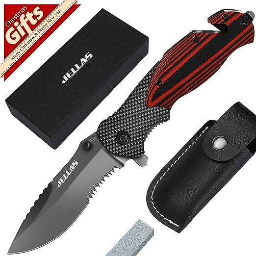 Amazon.com: Jellas 7Cr17 (440A) 4 en 1 cuchillo plegable de ...