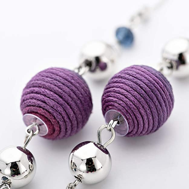 Long Necklace for women girls bohemian necklace purple Wax Wire Manually Winding cotton Ball necklace