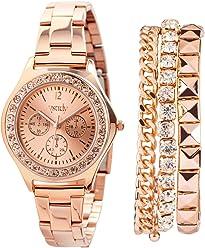 SIX Schmuckset, roségoldenes Schmuckset mit Uhr und DREI Armbändern, in Box (388-285)