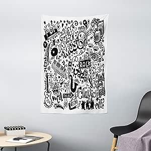 doodle tapiz por Ambesonne, colección de música con un