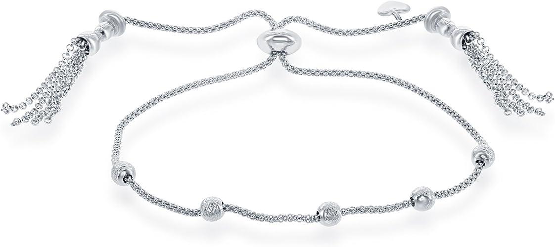 Bonyak Jewelry Round Double Loop Bangle Bracelet w//St Christopher//Lacrosse in Sterling Silver