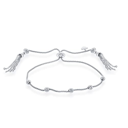18bff22d73be8c Amazon.com: Italian Sterling Silver Popcorn Chain w/ Diamond Cut Beads  Adjustable Bolo Friendship Bracelet: Jewelry
