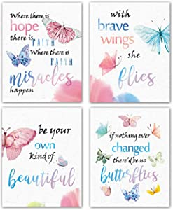 Modern Art Watercolor Butterfly Inspirational Quote Wall Poster Prints Set of 4 (8