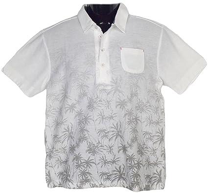 ddbae7d75aedf Clack (クラック) ポロシャツ 南国テイスト グラデーション ヤシの木 プリント 半袖 軽量 トップス ゴルフ