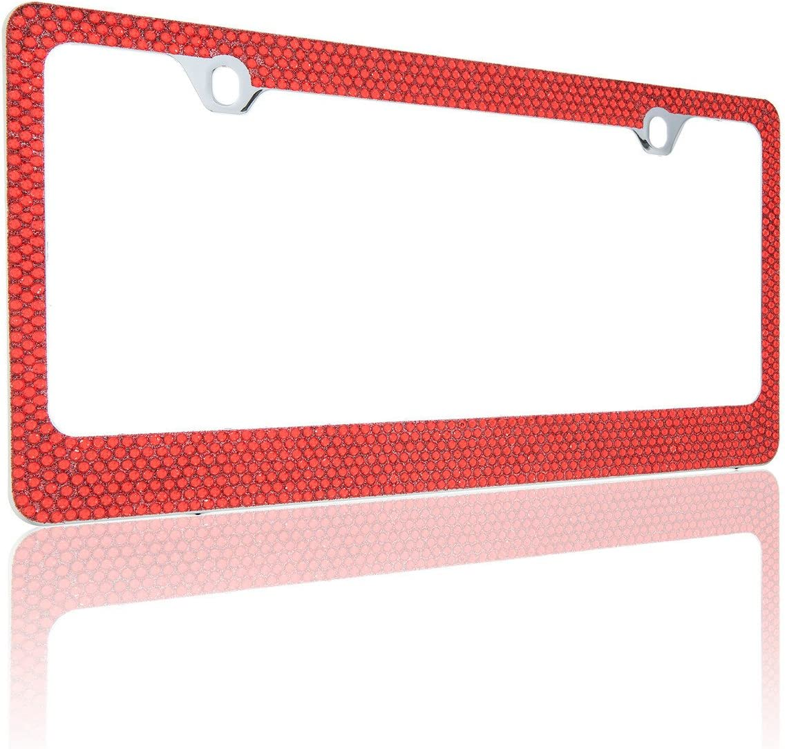 1, Zebra BLVD-LPF OBEY YOUR LUXURY Popular Bling 7 Row Crystal Metal Chrome License Plate Frame with Screw Caps