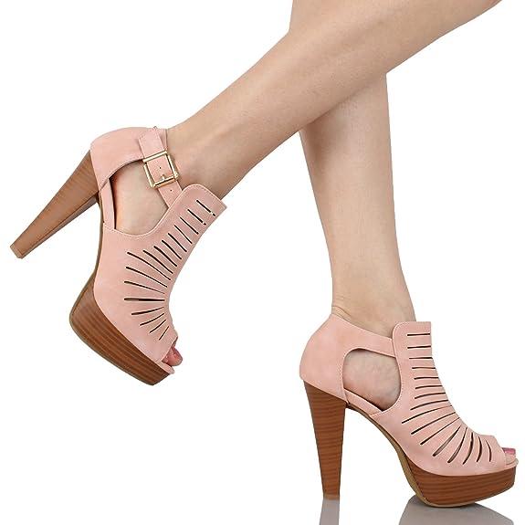 a5127f2dc335c Amazoncom Guilty Shoes Cutout Gladiator Ankle Strap Platform