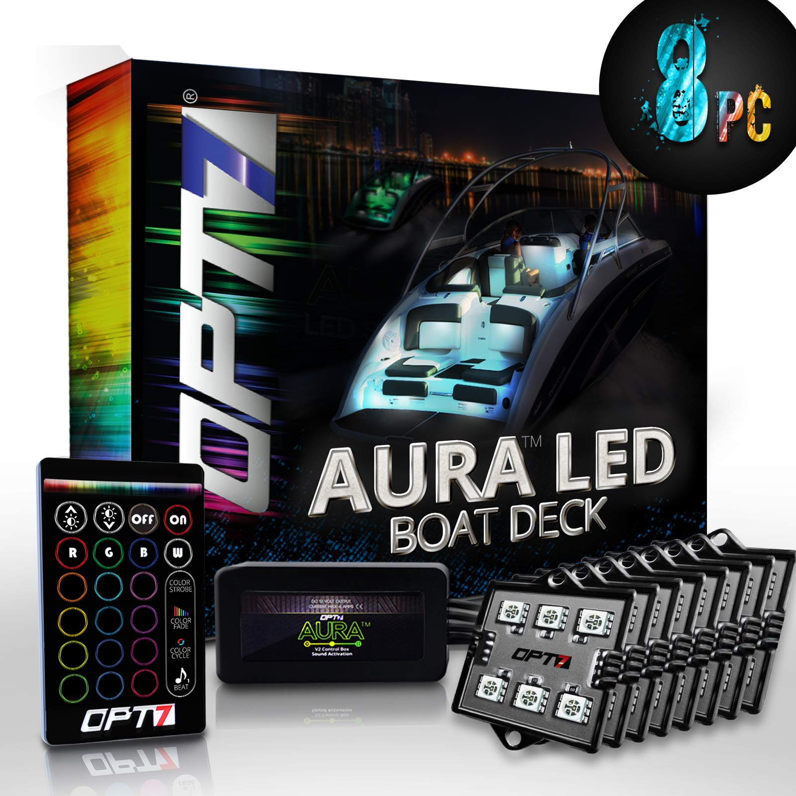 OPT7 Aura 8pc Boat Interior LED Lighting Kit with Multi-Color Light Features, Wireless Remote, and Soundsync - 1-Year Warranty by OPT7