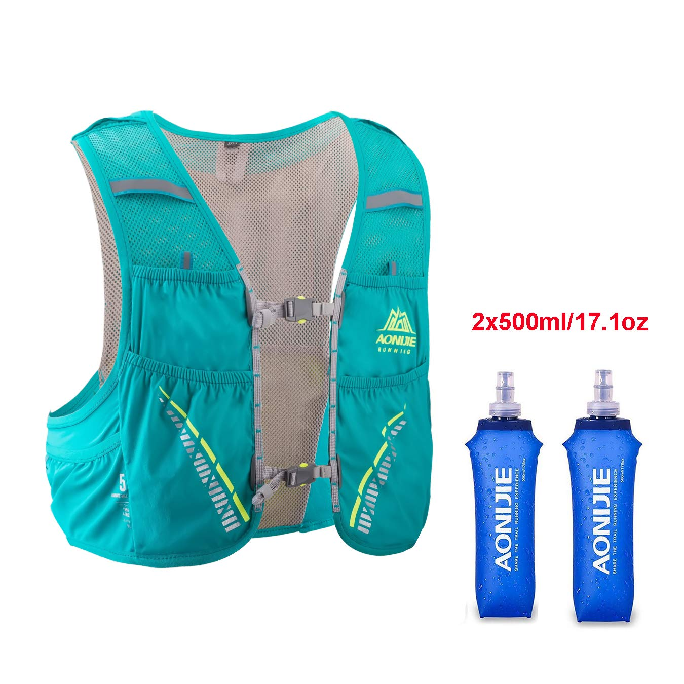 AONIJIE Hydration Pack Backpack with 2x500ml Water Bottles,Lightweight 5L Outdoor Marathoner Running Race Hydration Vest for Cycling Hiking (Green, S/M(29.5-33in))