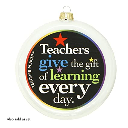 teacher peach teacher appreciation christmas ornaments gift of learning glass ornament gift white pearl