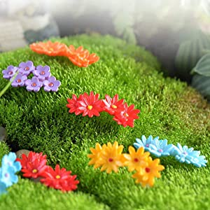 DatingDay 15 Pcs Tiny Miniature Flower Moss Bonsai DIY Crafts Fairy Garden Landscape Decor (Random Color)
