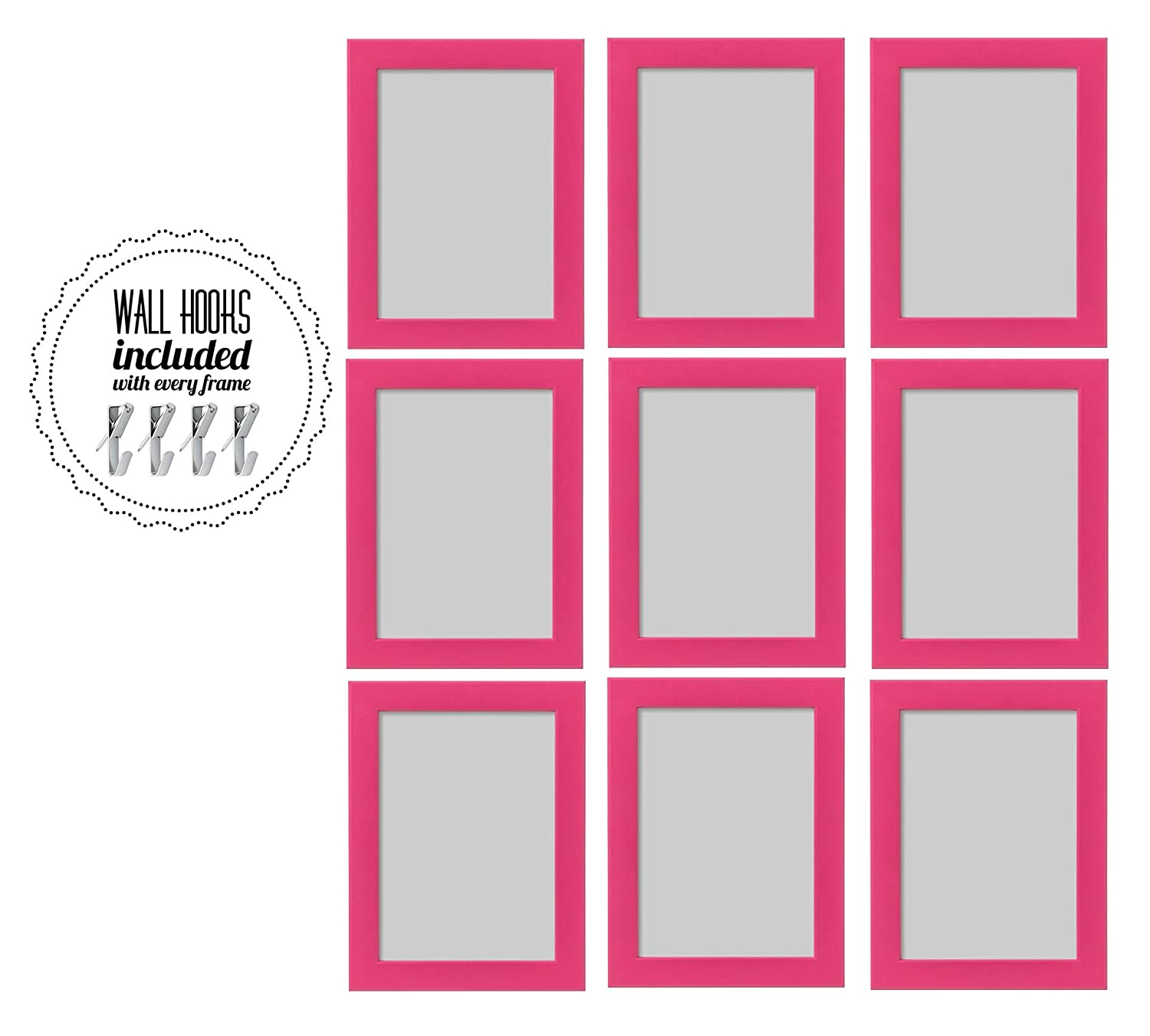IKEA Fiskbo 5x7 Pink Family Picture Frame Photo Collage with Metal Hardware - Set of 9-5 x 7 Picture Frames - [A+++QBG Wall Hooks] | Set of 9 Photo Frames - for Wall or Desk (Collage of 9 - Pink)