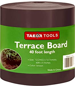 TABOR TOOLS Terrace Board, Landscape Edging Coil, 1/25 Inch Thick, 5 Inch High. ES22. (40 Feet, Brown)