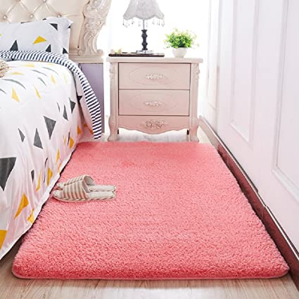 Soft Cozy Solid Color Pink Shag Area Rug Kids Room Rugs 6.6 By 8.2 Feet  Living