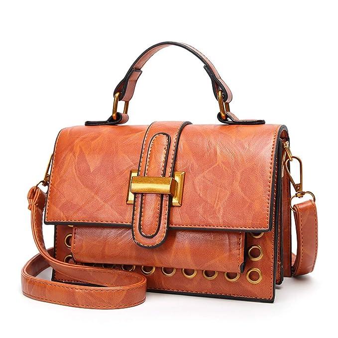 RMXMY Señoras Bolsos de Moda Hombro Retro Messenger Bag Cera Aceite Estereotipos de la Piel pequeña fragante Solapa Cubierta Simple Personalidad Creativa ...