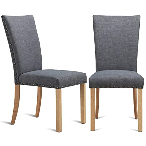Fantastic Amazon Com Set Of 2 Armless Fabric Upholstered Nailhead Gmtry Best Dining Table And Chair Ideas Images Gmtryco
