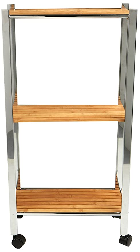 Mind Reader 3 Tier Bamboo Utility Cart, Kitchen, Office, Home, Brown