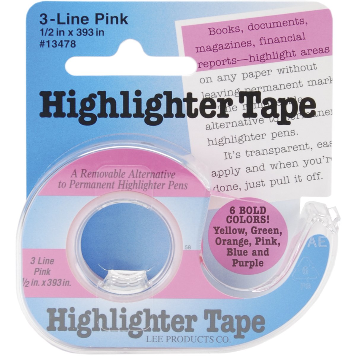 Lee Products Highlighter Tape 1/2-Inch by 393-Inch-Pink 13478