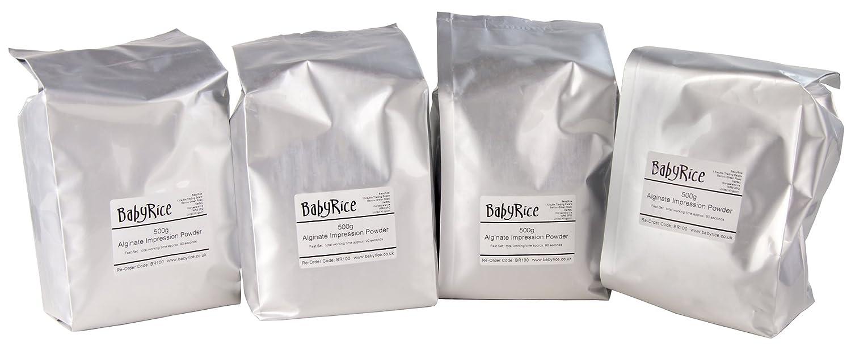 BabyRice - Polvo de moldeo de Material de impresión de alginato Cromado (Cambio de Color) - sólo añade Agua 2 kg rápido Set: Amazon.es: Juguetes y juegos