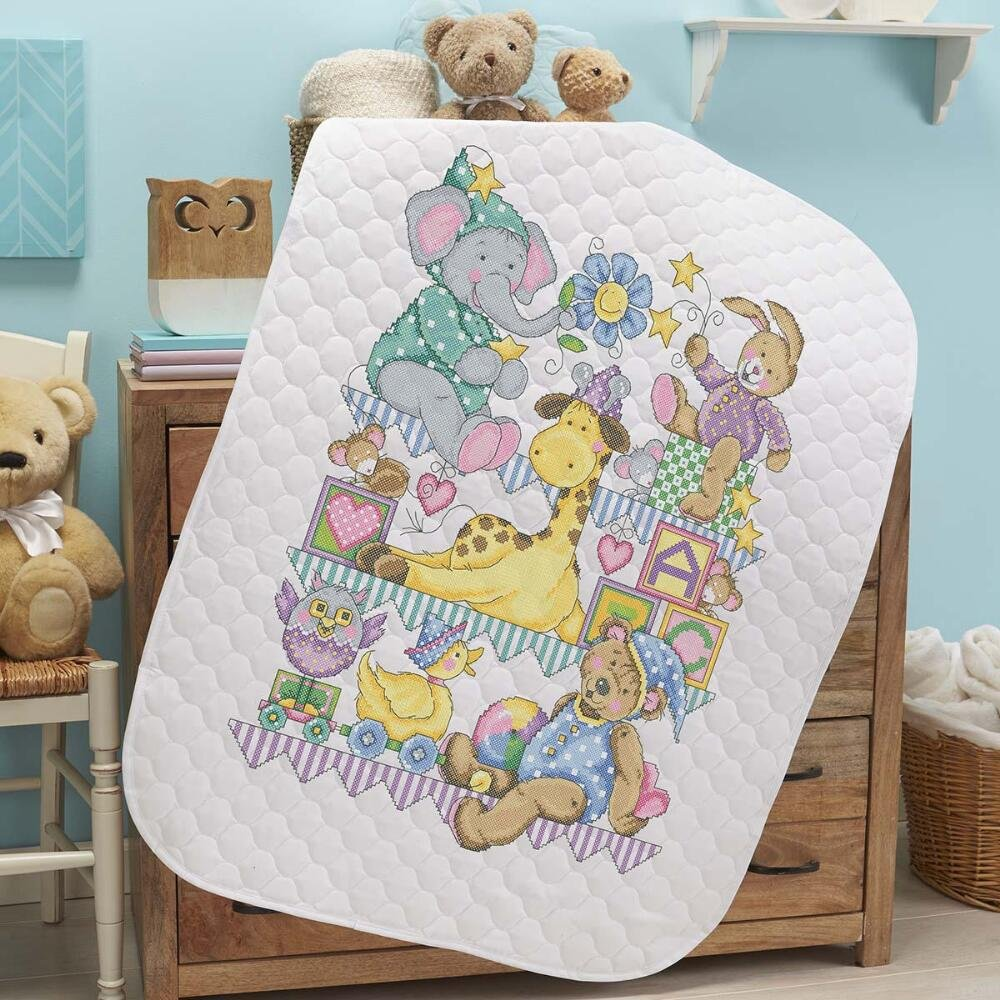Baby by Herrschners Pre-Quilted Playland Baby Quilt Stamped Cross-Stitch Kit