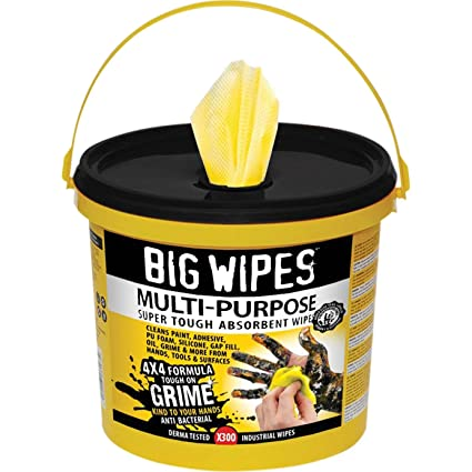 Big Wipes bgw2417 4 x 4 300 multiusos limpieza toallitas cubo – amarillo