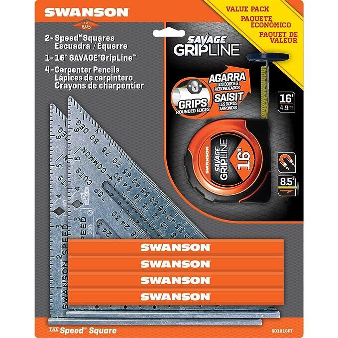 Swanson Tool S0101SPT 2-Speed Square 1-16-Feet Savage Grip Line and 4-Carpenter Pencils Value Pack - - Amazon.com