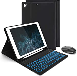 Jelly Comb Backlight Keyboard Case with Mouse for iPad 9.7 2018 (6th Gen) / iPad 2017 (5th Gen) / iPad Pro 9.7 / Air/Air 2, Removable Bluetooth Keyboard Mouse Combo with Protective Case, Black